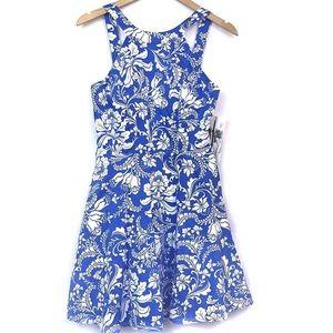 Honey & Rosie Blue Floral Halter Skater Mini Dress